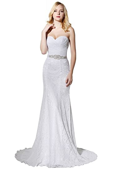 LYDIAGS Womens Lace Wedding Dress Mermaid Evening Dress Bridal Gown with Sash Ivory UK6