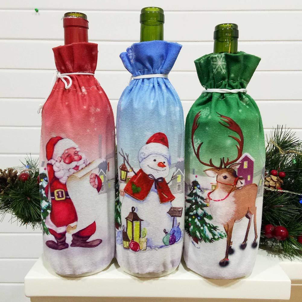 strimusimak Christmas Champagne Bottle Bag Elk Santa Snowman Pattern Wine Bottle Cover Bag for Party Home Table Decor Elk##