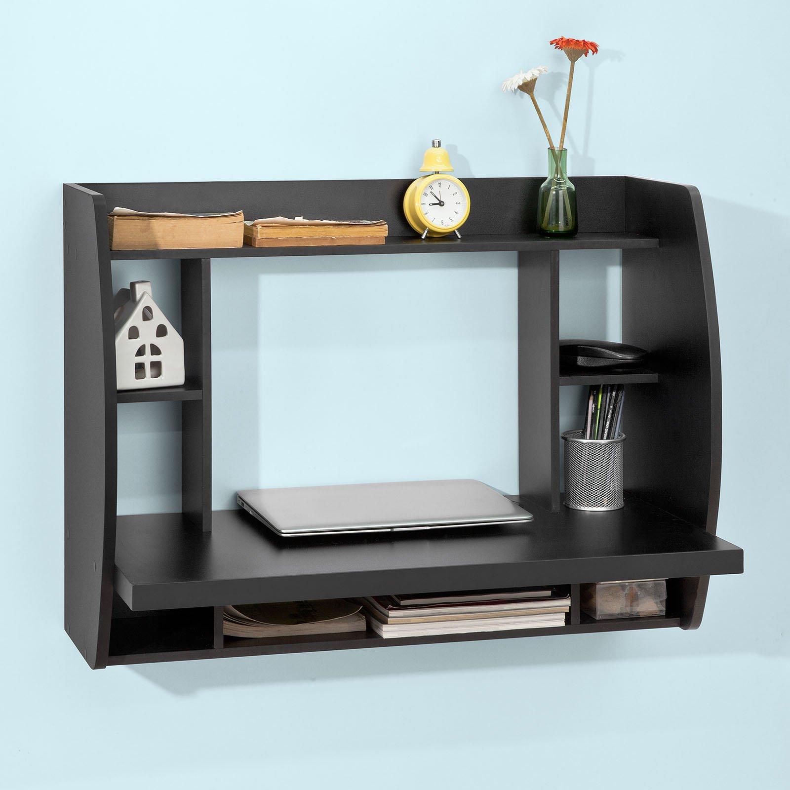 Haotian Wall-mounted Drop-leaf Table, Folding Kitchen & Dining Table Desk, Solid Wood Children Table,Home Office Table Desk Workstation Computer Desk with Storage Shelves, Trestle Desk (FWT18-SCH)