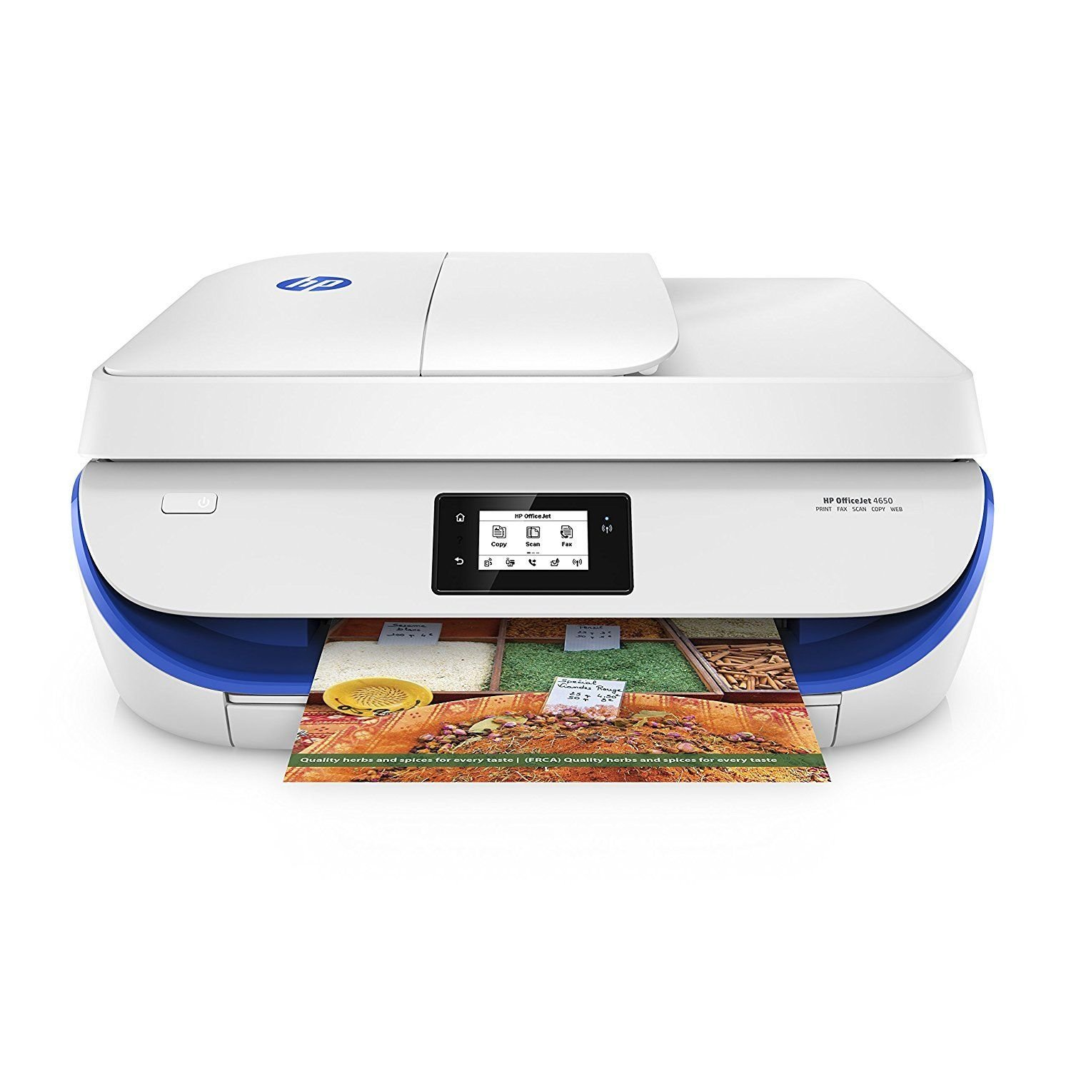 HP OfficeJet 4650 Wireless All-in-One Photo Printer, in White and Blue (Certified Refurbished)