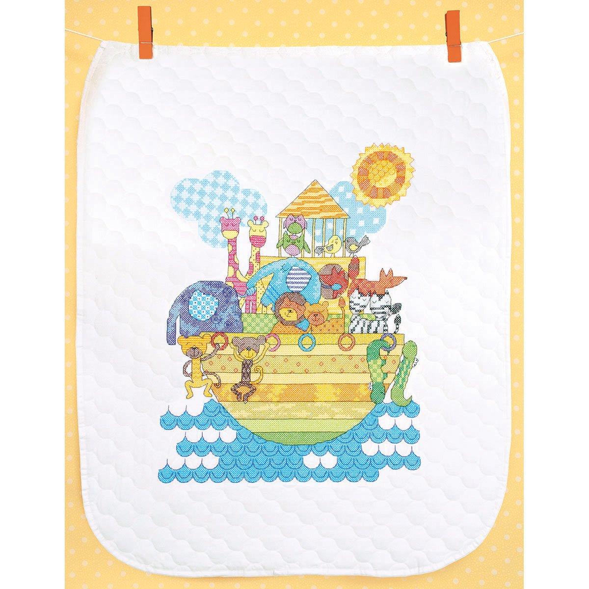 Noah's Animals Quilt Stamped Cross Stitch Kit-34