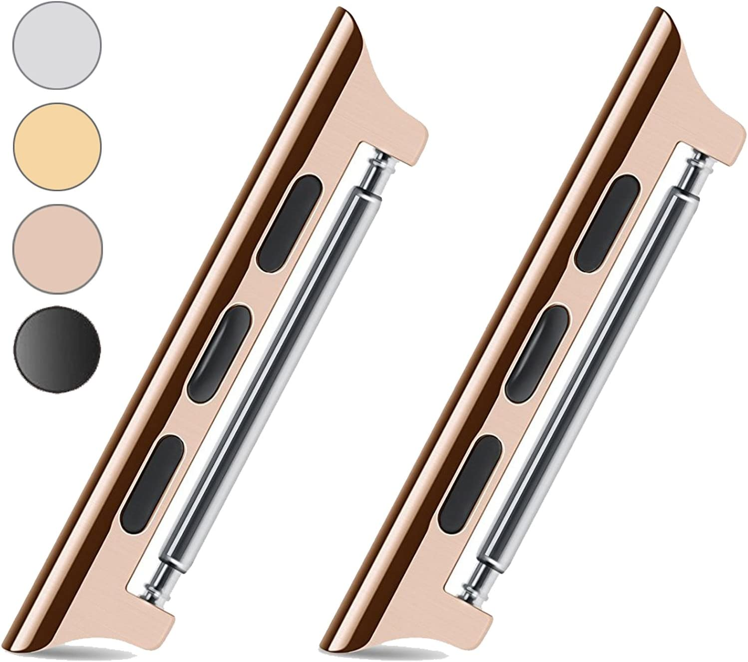 VICTHY Metal Watch Band Adapter/Clasp/ Connector for All Apple Watch Models. No Screws or Screwdriver Needed and Super Easy to Install - 38mm Rose Gold