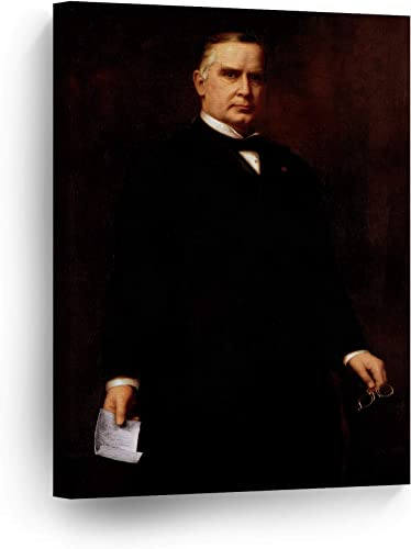 Smile Art Design 25th President of The United States of America William McKinley Portrait Oil Painting Canvas Wall Art Print American History Political Icon Office Library Living Room Home Decor 40×30
