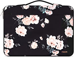 MOSISO Laptop Sleeve 360 Protective Case Compatible with MacBook Pro 16 inch, 15 15.4 15.6 inch Dell Lenovo HP Asus Acer Samsung Sony, Pattern Bag with Fully Open Zipper&Mesh Pocket, Apricot Peony