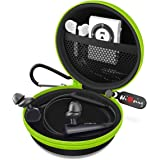 Earbud Case, HiGoing Mini Earphone Case EVA Hard Protective Carrying Earbuds Case Travel Portable Storage Bag for Earphones & Mini Items (Round Case with Carabiner)