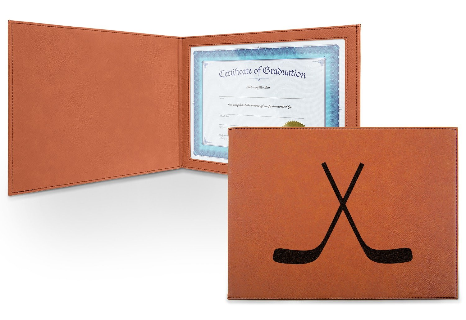 Hockey Leatherette Certificate Holder - Front (Personalized)