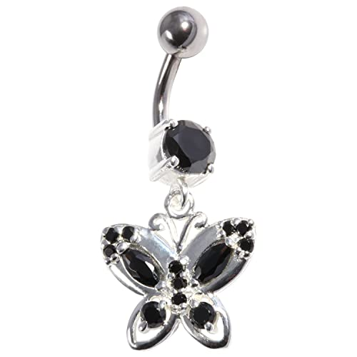 Black Strass 925 Silver 316l Steel Belly Bar Navel Button Ring