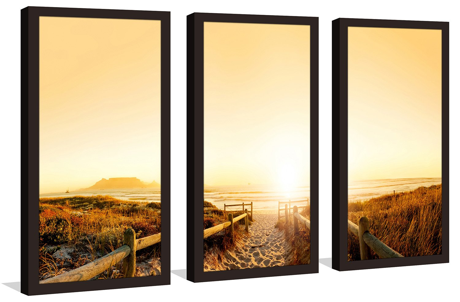 South Africa Framed Plexiglass Wall Art Set of 3 Picture Perfect InternationalSunset in Cape Town