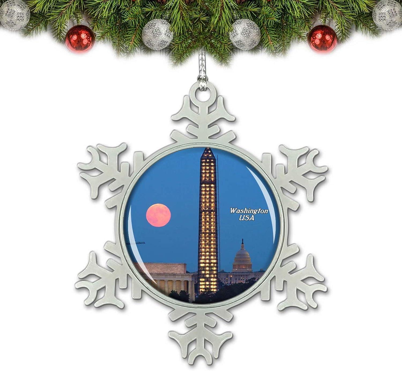 Umsufa USA America Washington Monument National Mall Washington Christmas Ornament Tree Decoration Crystal Metal Souvenir Gift