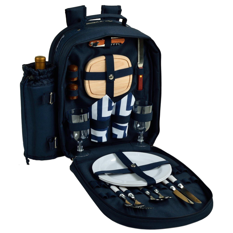 アスコット080-SCBデラックスのピクニック2人用ピクニックリュックサック、冷蔵庫&断熱ワインホルダー付き、シェブロンブルー   B00VZNPCLI