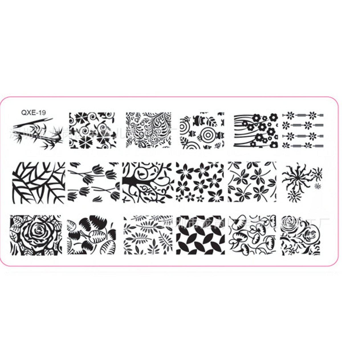 XLORDX New Nail art Plates Noël Avalez autour Image Stamping Manicure Plaque de Tampons Vernis Timbre QXE19
