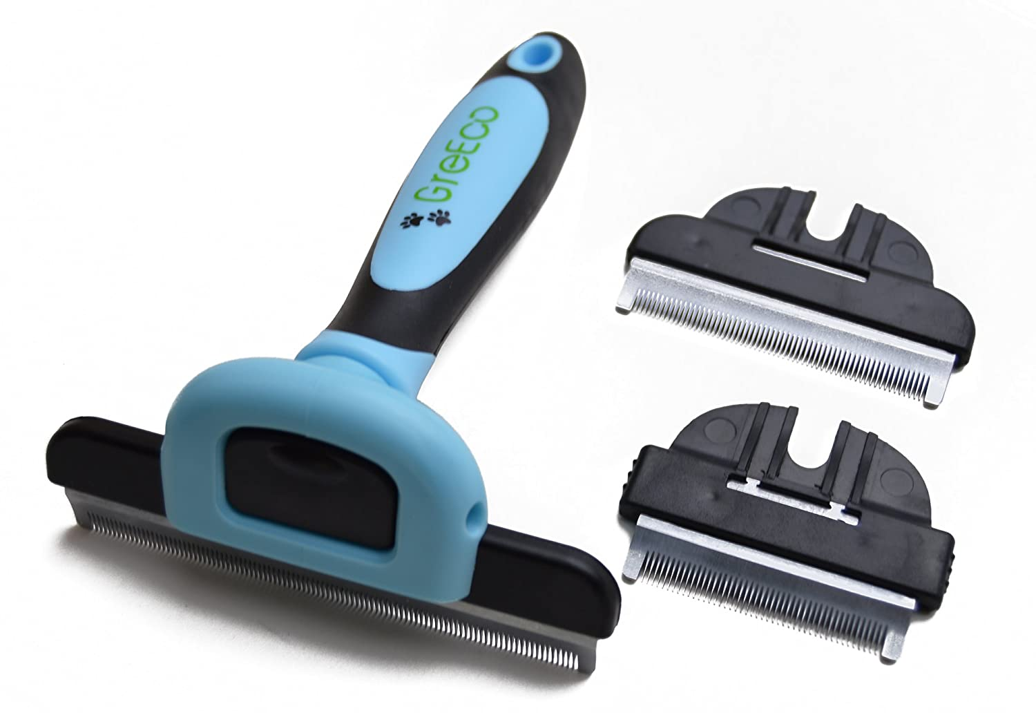 GreEco 3-in-1 Professional Deshedding Tool & Pet Grooming Brush, Including 3 Size brushes, For Small, Medium & Large Pets, Especially Excellent for Dogs + Cats With Short or Long Shedded Hair. Dramatically Reduces Shedding Hair By Up To 90% In Minu