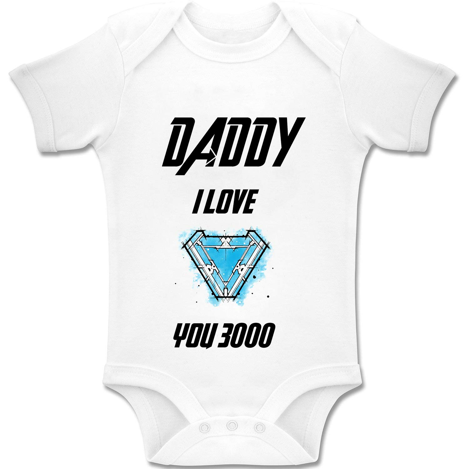 Baby Romper Body in Cotone Biologico per Ragazzi e Ragazze 0-24 Mesi 0-3 Messi Acen Merchandise Daddy I Love You 3000