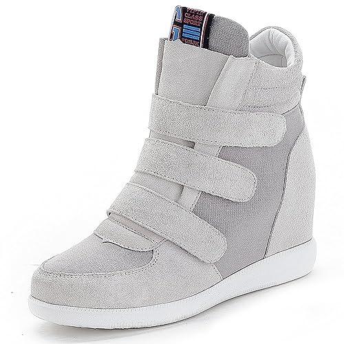 Jamron Mujer Moda Tacón de Cuña Oculto Zapatillas Zapatos del Elevador Cómoda Gamuza & Tela Zapatos