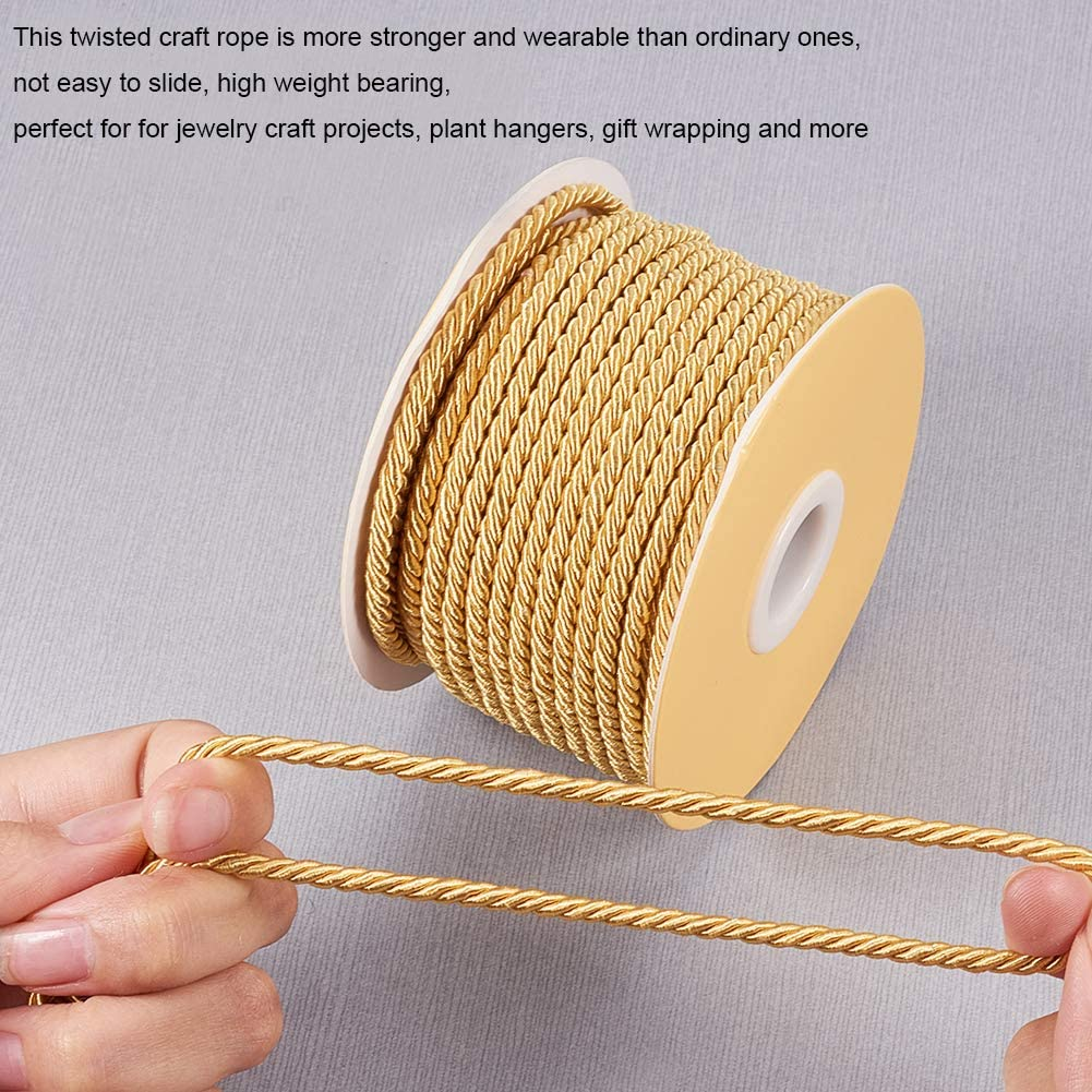 JEWELEADER 65 Feet Twisted Cord Rope Goldenrod Craft Nylon Rope 3mm 3 Strand Multipurpose Utility Cord Trim Choker Thread for Jewelry Making Knot Rosaries Upholstery Curtain Tieback Honor Cord