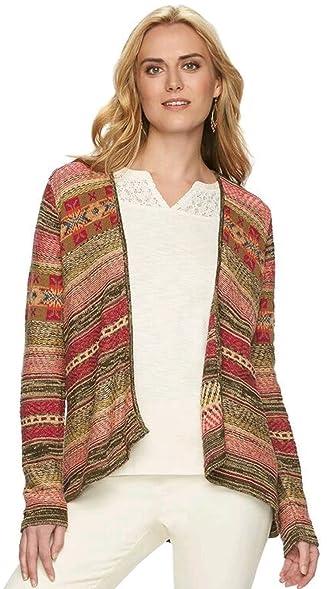 Chaps Women's Fairisle Open-Front Cardigan Sweater at Amazon ...
