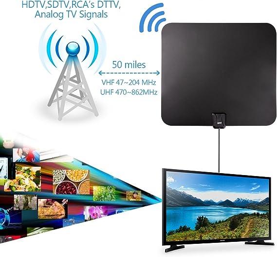 Antena de TV, Kiirie de Interior y amplificada de HDTV Antena ...