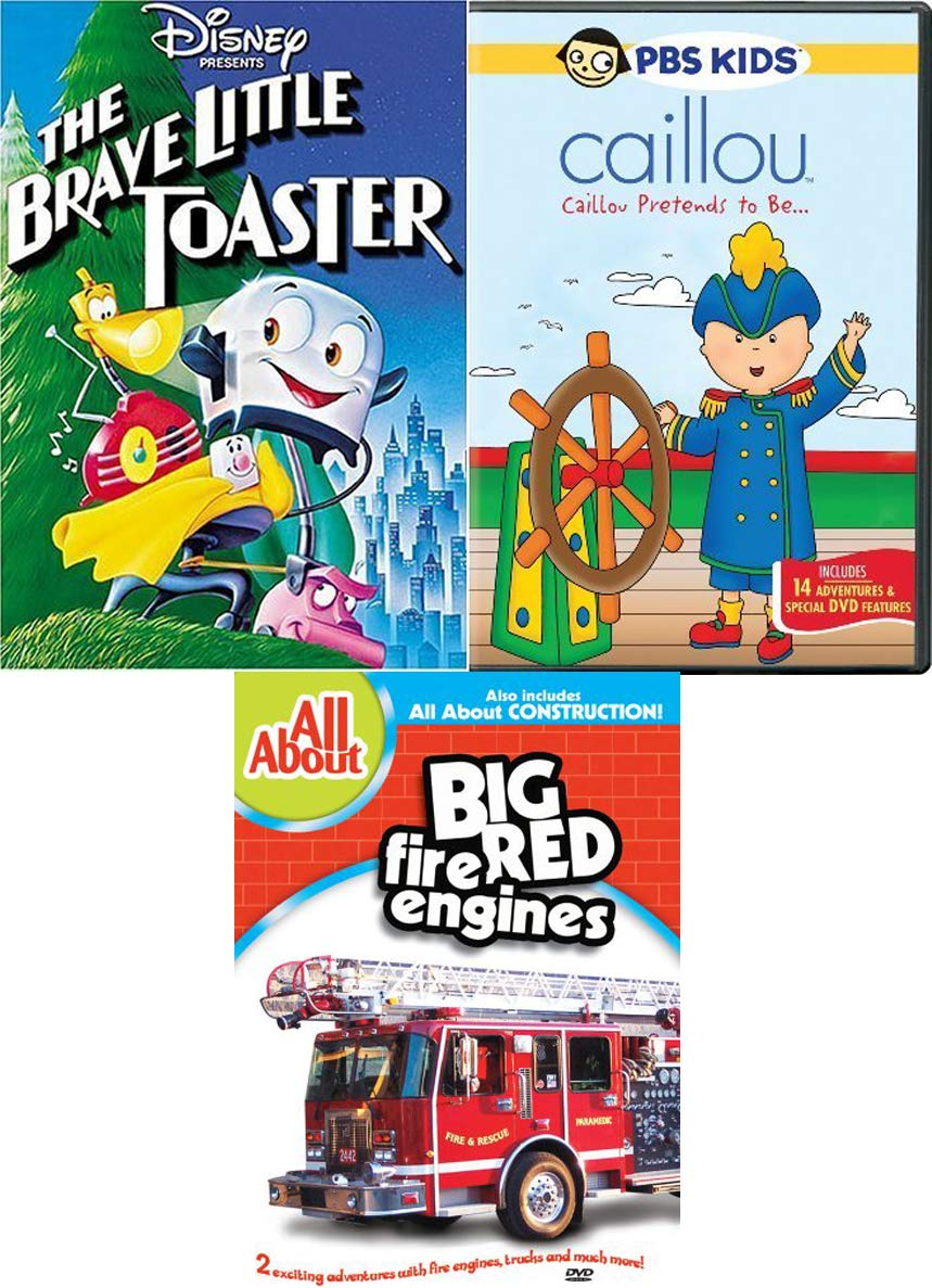 Fire Trucks / Toasters & Friends Fun Cartoon Kid Pack Disney Brave Little Toaster & Big Red Fire Engines All About Construction + PBS Caillou pretends adventures Triple Cartoon Feature