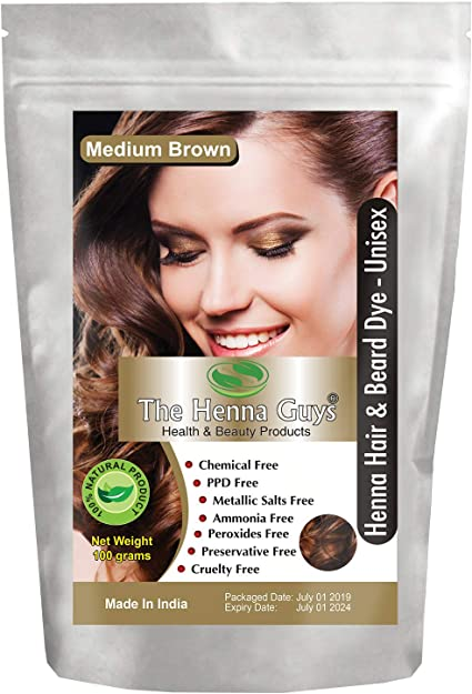 Tinte/tinte para cabello y barba con henna 100 gramos - Color de cabello sin químicos - The Henna Guys (1 Pack, Medium Brown)