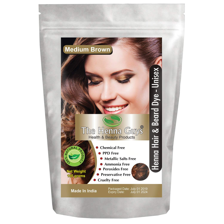 MEDIUM BROWN Henna Hair & Beard Color / Dye - 1 Pack - The Henna Guys