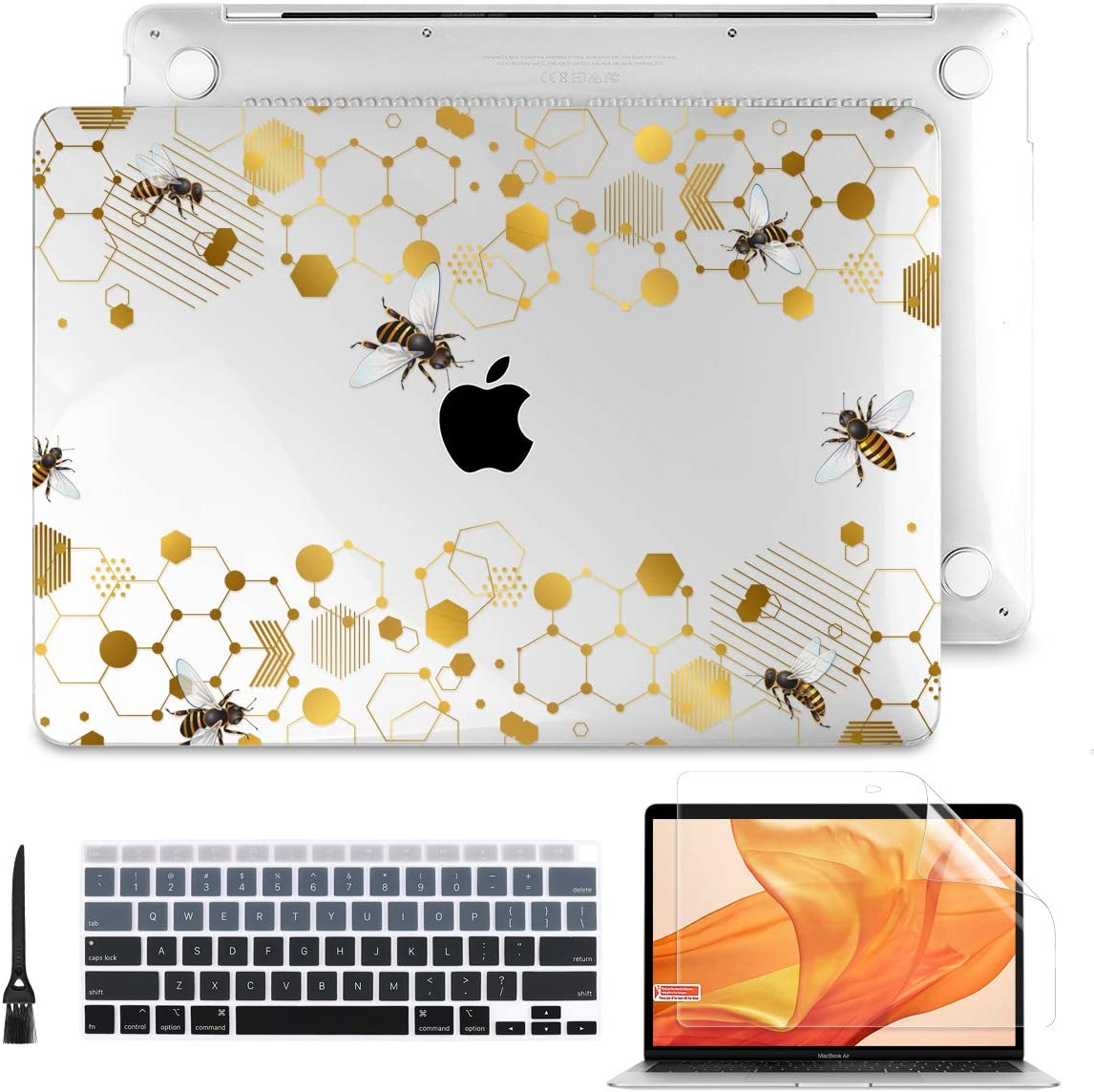 Batianda for MacBook Air 13 inch Case 2020 2019 2018 Release A2337 M1 A2179 A1932 with Touch ID Retina, 3D Printing Plastic Hard Shell Case + Keyboard Cover + Screen Protector (Honeycomb-1)