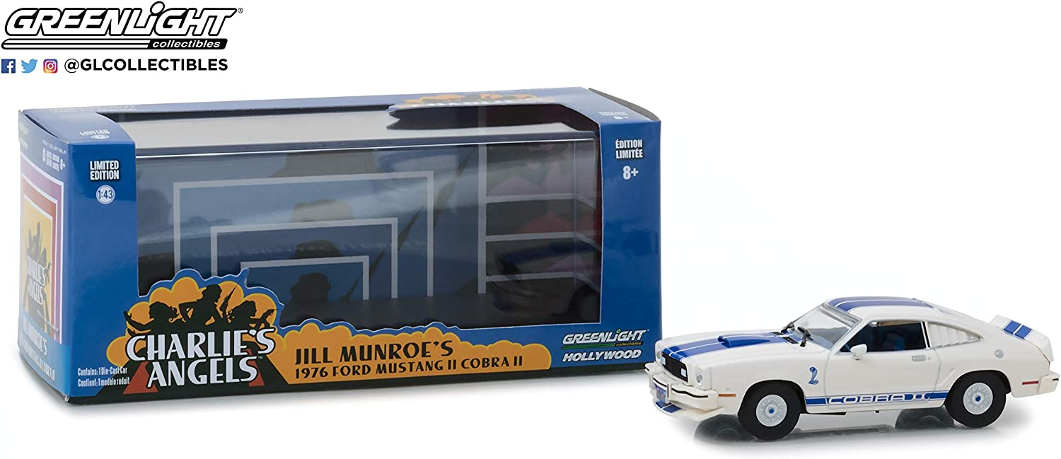 Jill Munroes Ford Mustang II Cobra II White Charlies Angels 1976-1981 TV Series New 1:64 Greenlight Hollywood Series 19 Collection Diecast Model Car By Greenlight
