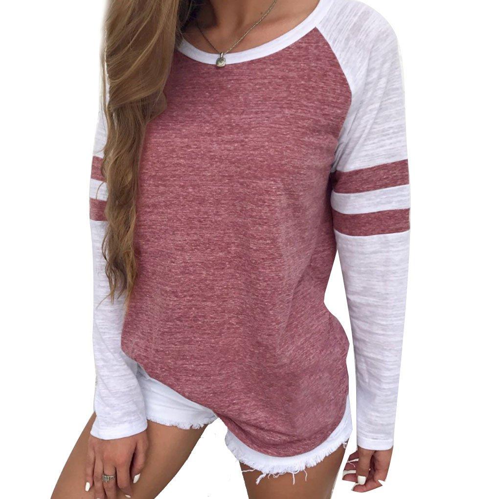 Harmily Plus Size Womens Long Sleeve Stripe Blouses Autumn Tops Tee Shirts
