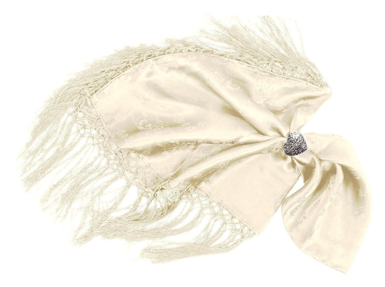 Moschen-Bayern Damen Trachtentuch Dirndltuch Seidentuch Fransen Elfenbein 20550607