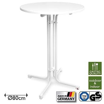 Beautissu Table Haute Pliante Outdoor Ø 80 cm Sylt Bistro Blanche ...