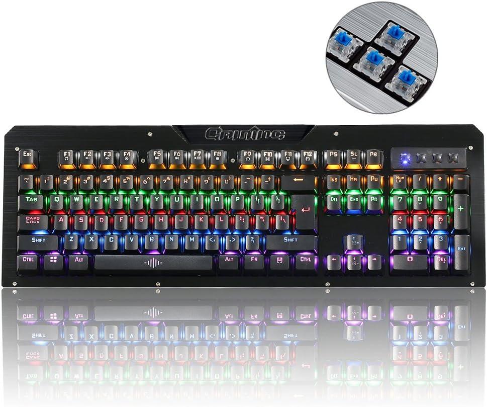 Mechanical Gaming Keyboard, ieGeek 104 Keys USB Wired Gaming Keyboard Computer RGB Backlit Keyboard with Blue Switch Anti-ghosting N-Key Rollover Ergonomic Wrist Rest for PC Mac Gamer/Office/Home