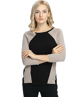 Women's Contrast Color Top Long Sleeve Sweater
