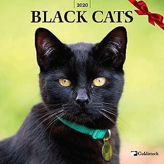 "Goldistock 2020 Large Wall Calendar -""Black Cats"" - 12"" x 24"" (Open) - Thick & Sturdy Paper - - Beautiful & Mysterious"