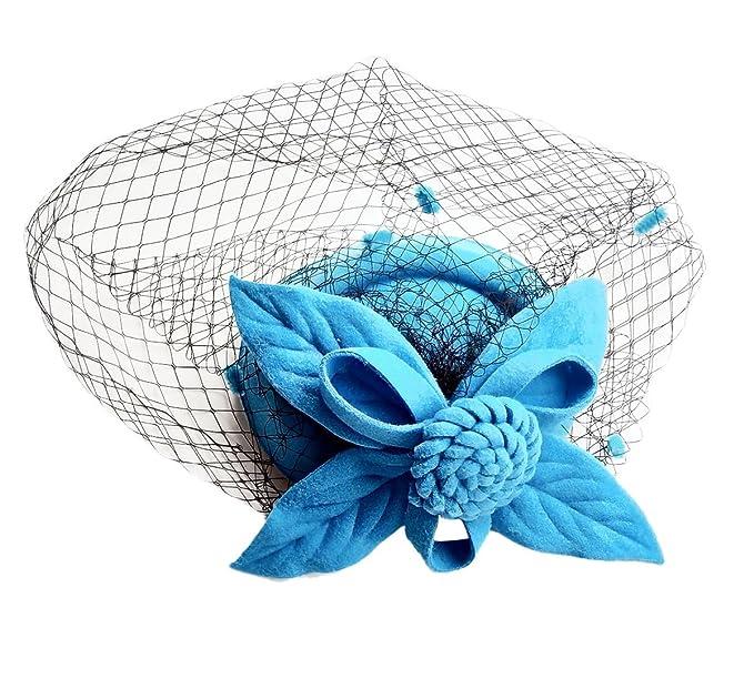 318ef638716 Flywife Fascinator Hats Pillbox Hat British Bowler Hat Flower Veil Wedding  Hat Tea Party Hat