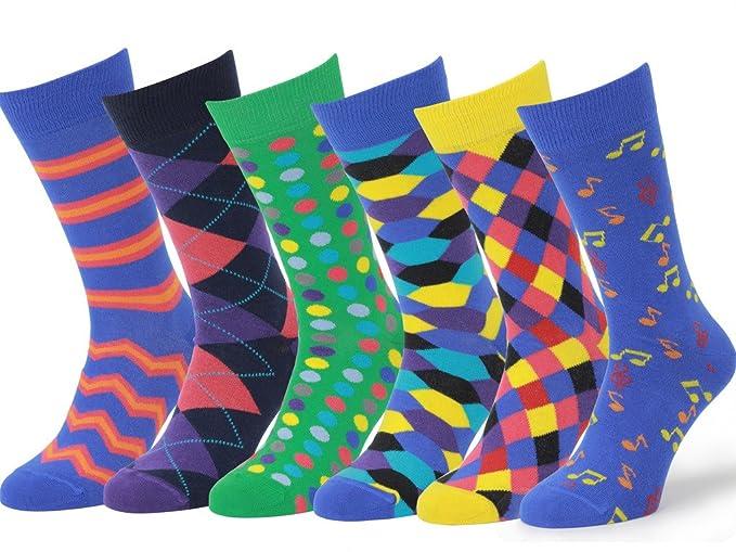 e0ec76b13a9b Easton Marlowe Mens - 6 PACK - Colorful Patterned Dress socks - 6pk #1,