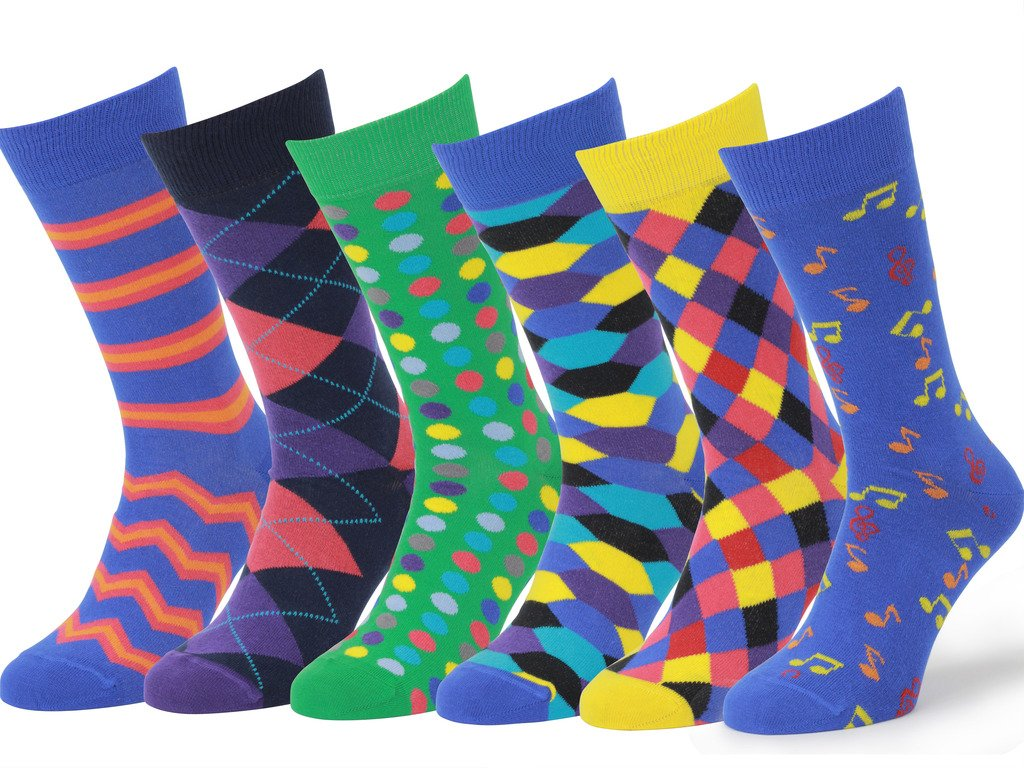 Easton Marlowe Mens - 6 PACK - Colorful Patterned Dress socks - 6pk #1, mixed - bright colors, 43-46 EU shoe size