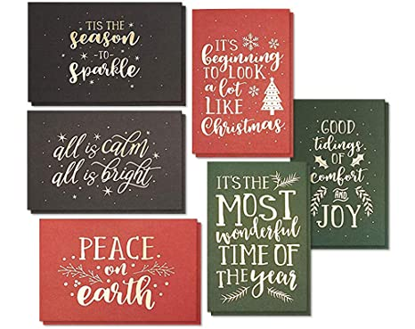 photograph about Happy Holidays Printable Card identified as 24-Pack Merry Xmas Family vacation Greeting Card - Satisfied Vacations Christmas Playing cards within just 6 Gold Foil Print Options and Comfortable Contact Coating, Majority Diverse Festive
