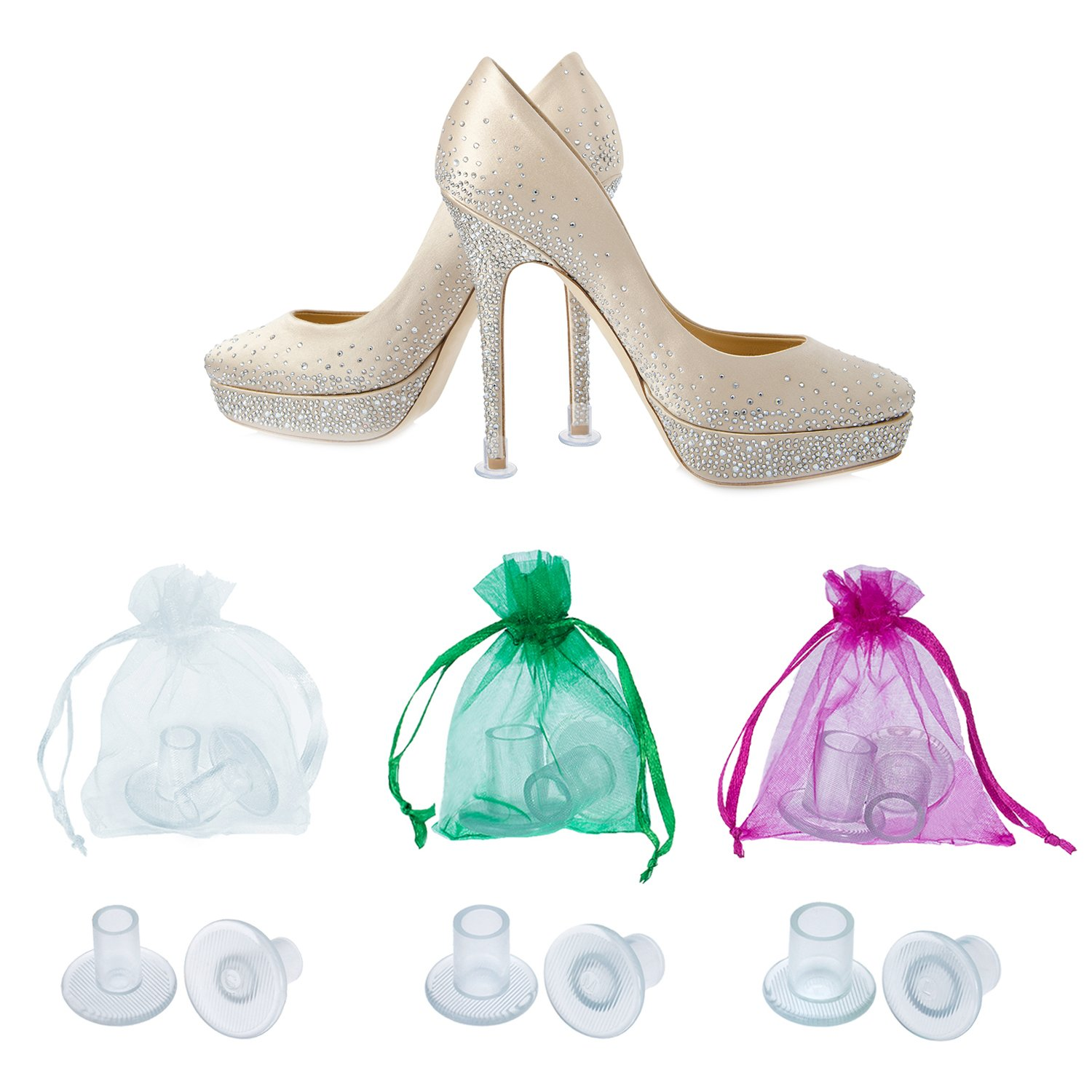 TOODOO 12 Pairs Heel Stoppers High Heel Protectors for Women's Shoes, Small/Middle/Large, Transparent by TOODOO