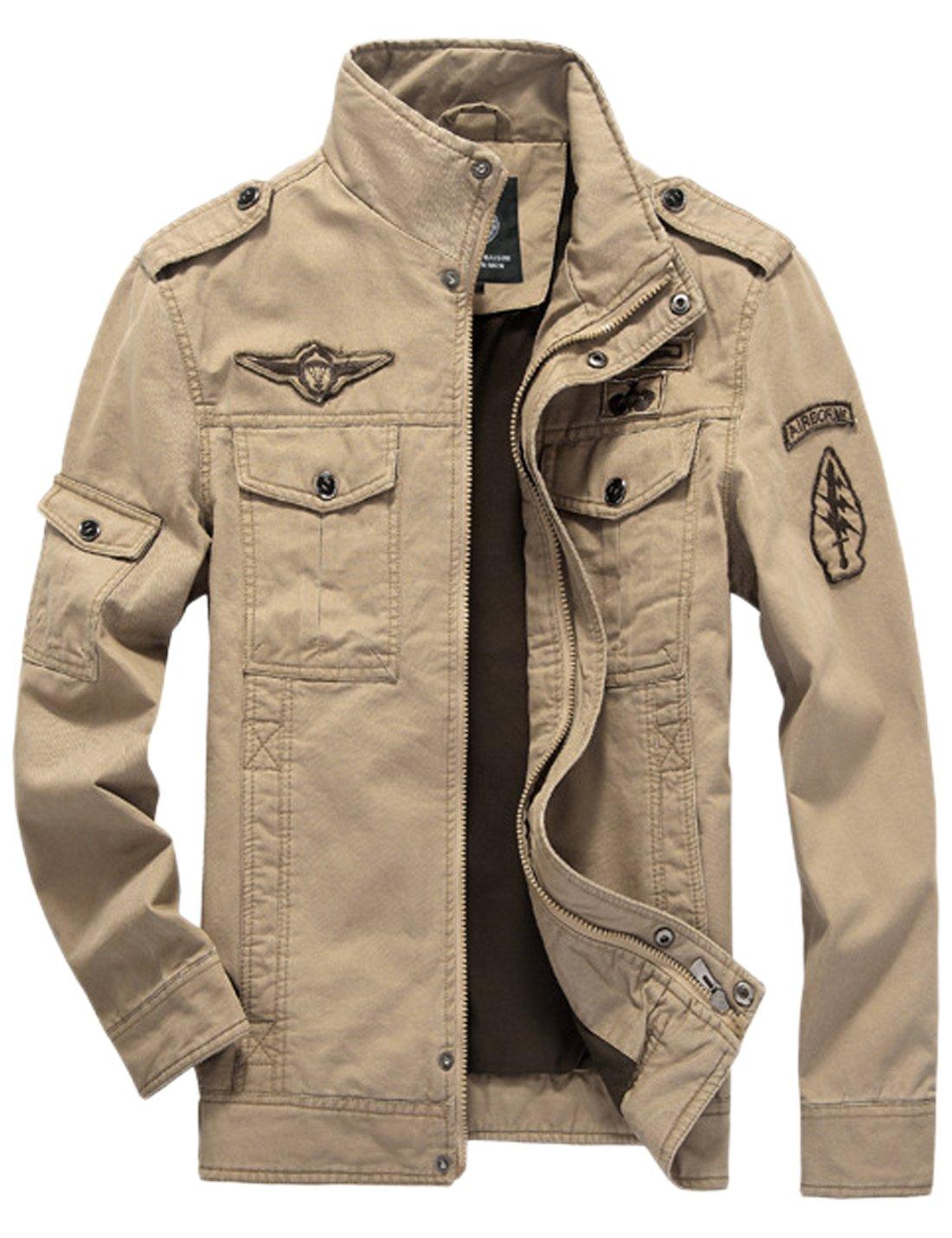 Springrain Men's Casual Slim Stand Collar Tooling Cotton Jackets (XX-Large, Khaki)