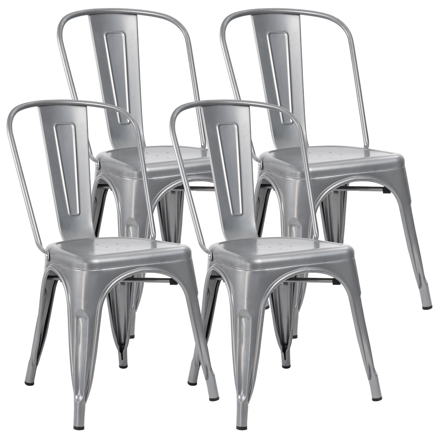 JUMMICO Metal Dining Chair Stackable Indoor-Outdoor Chairs Chic Bistro Cafe Side Chairs for Kitchen Use Set of 4 (Black) SDMC18002BL-4