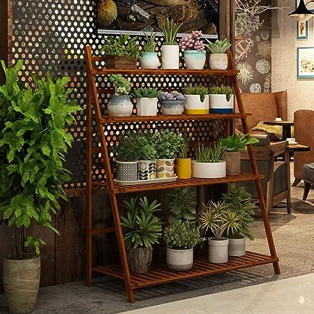 YAHAO Escalera para Flores De Bambú Estantería Decorativa para Macetas Soporte para Plantas Exterior Interior Jardín con 3/4 Niveles,4layers-100cm: Amazon.es: Hogar