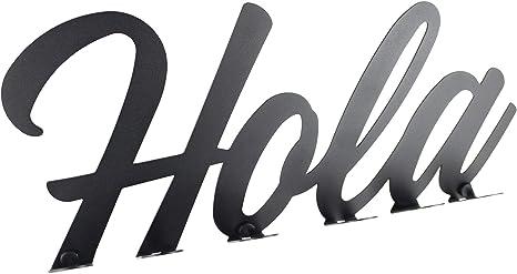 Perchero de Pared Lettering 100% Acero. Decorativo con Letras. Diseño Exclusivo. Made in Spain. (Hola)