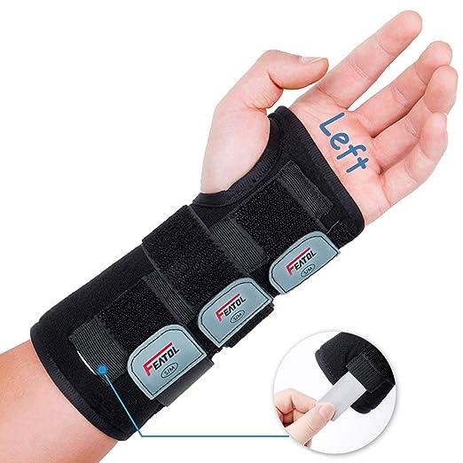 Featol Adjustable Wrist Support Brace with Splints, Left Hand,Medium/Large,for Carpal Tunnel,Injuries,Wrist Pain, Sprain
