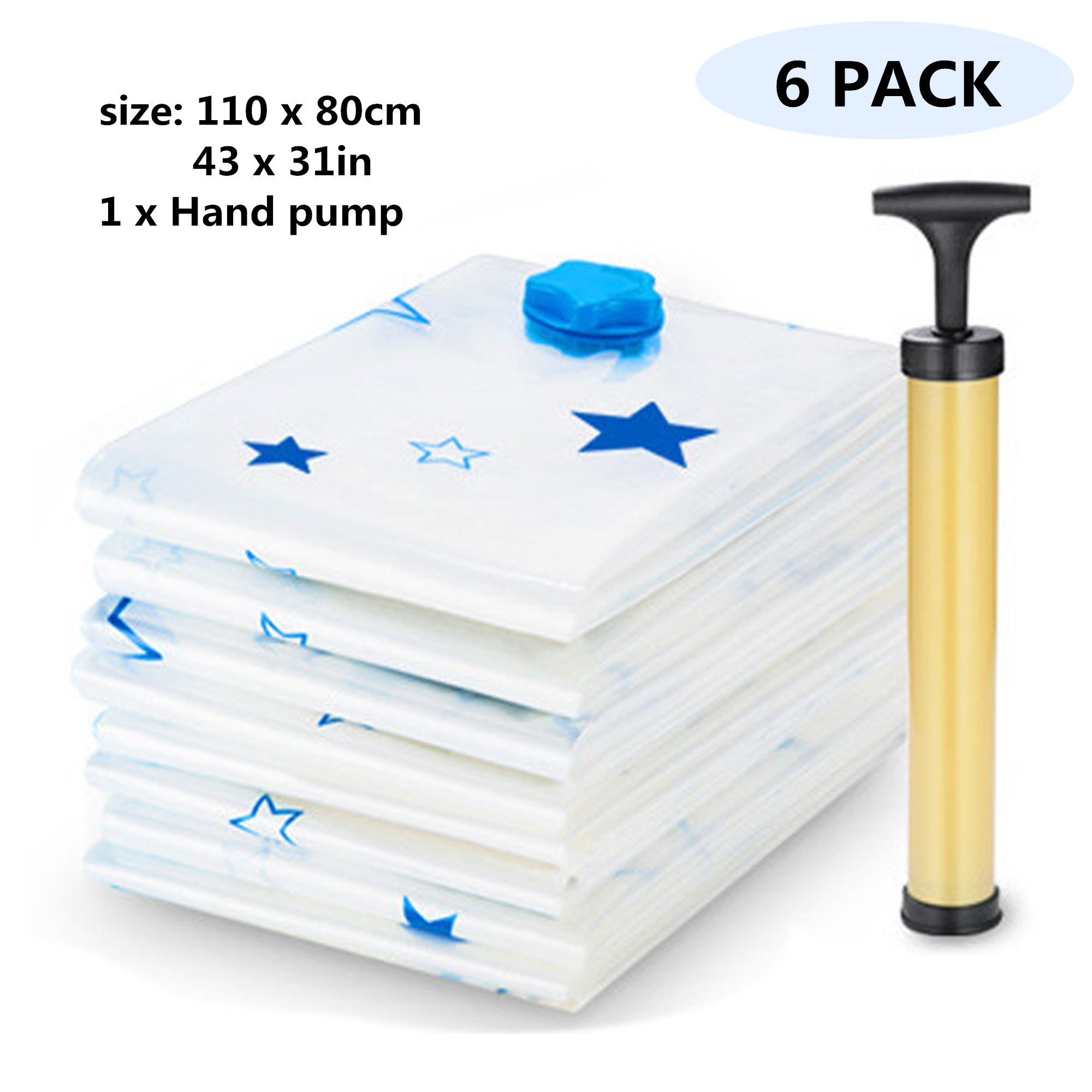 UNIAI Strong Vacuum Storage Bags 6 Pack(43x31in/110x80cm),Space Saver Bags Reusable Vacuum Seal Bags for Clothes,Duvets,Bedding and Travel Packing