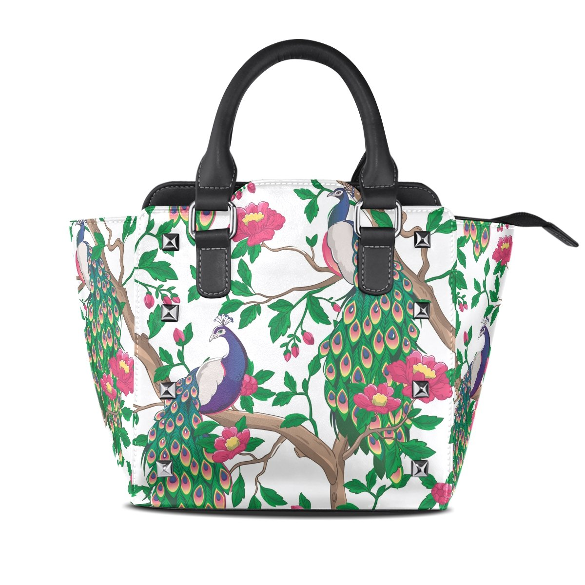 Womens Genuine Leather Hangbags Tote Bags Peacock Purse Shoulder Bags