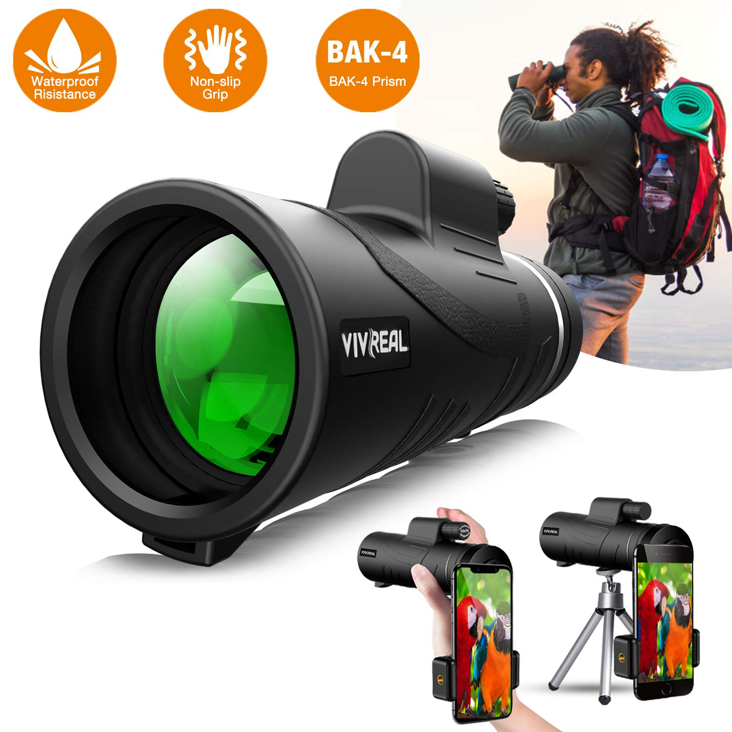 10x42 Monoculars Telescope| High Power HD Monocular with Smart-phone Holder & Tripod -Waterproof Compact Monocular with Durable FMC BAK4 Prism| Zoom Monocular for Bird Watching, Camping, Hiking, Match by VIVREAL