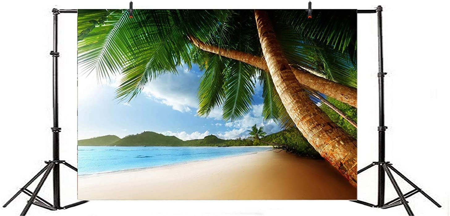 10x6.5ft Seaside Beach Scenic Polyester Photography Background Huge Crooked Plams Remote Green Mountains Blue Seawater Backdrop Wedding Shoot Holiday Vacation Landscape Wallpaper Studio Props