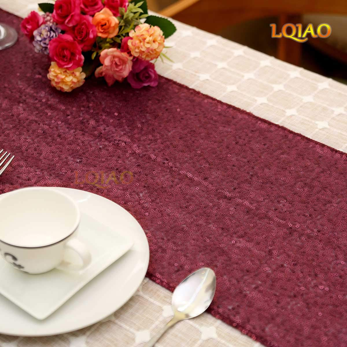 Amazon.com: LQIAO Sequin Table Runner Wedding Matte Burgundy 12x72in,  Wedding Events Sequin Tablecloth: Home U0026 Kitchen