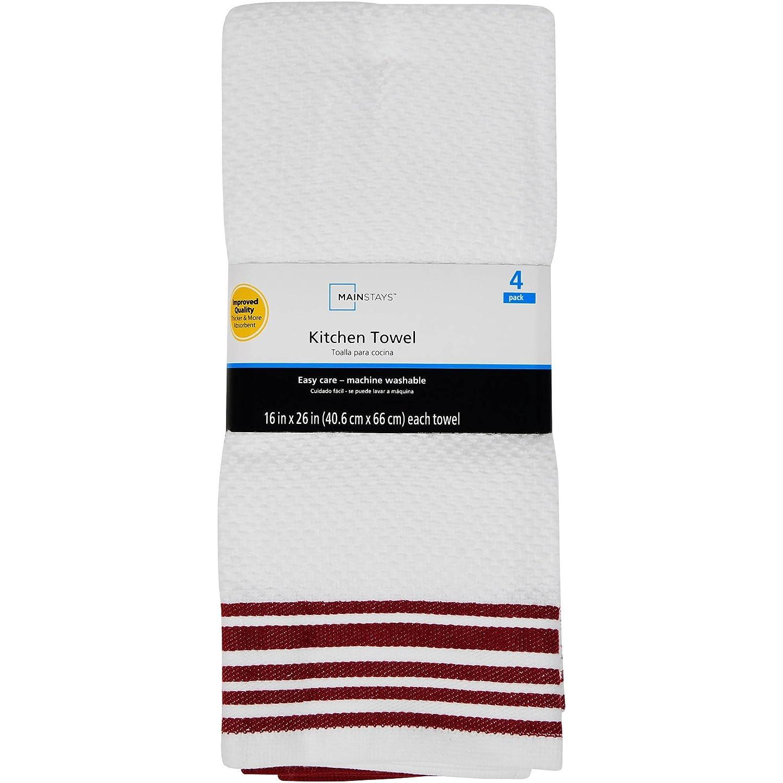 MAINSTAYS COTTON KITCHEN TOWEL 4 PACK