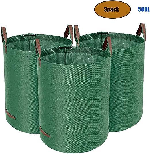 DOPORA Bolsas de Basura de jardín de 500 litros, Bolsa de Basura de jardín Reutilizable Resistente con 4 Asas para Bolsa de Basura de Hojas de jardín de Piscina (Paquete de 3):