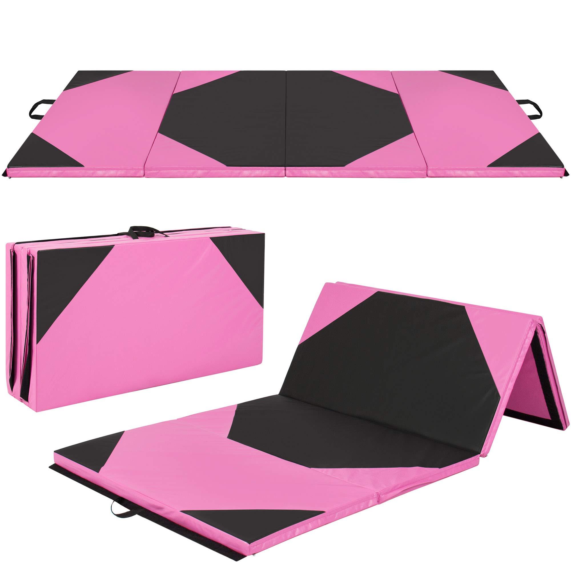 4'x10'x2'' Gymnastics Gym Folding Exercise Aerobics Mats Stretching Yoga Mat, Pink/Black